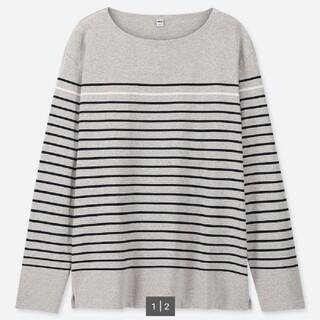ユニクロ(UNIQLO)のユニクロ ウォッシュボーダーT(長袖) 03GRAY(Tシャツ/カットソー(七分/長袖))