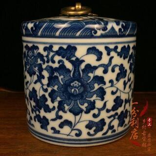 大清乾隆皇帝陶磁器 中華人民共和国のお茶の缶 ティーキャディー アンティーク磁器(置物)