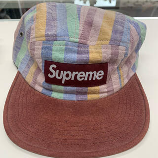 シュプリーム(Supreme)のsupreme Striped Linen/Suede Camp Cap(キャップ)