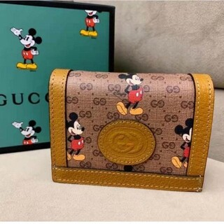 Gucci - GUCCI ディズニー ミッキー 二つ折りコンパクト財布