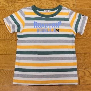DOUBLE.B - ダブルB★コットンボーダー半袖Tシャツ★130★白&黄&深緑&灰色