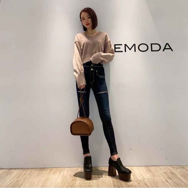 EMODA(エモダ)のEMODA 値下げ!!クラッシュハイウエストパギンス レディースのパンツ(デニム/ジーンズ)の商品写真
