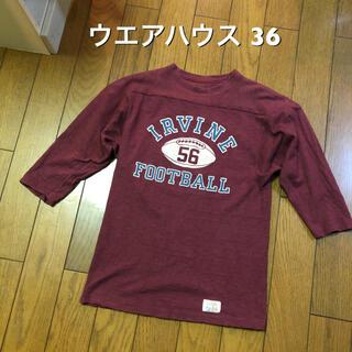 ウエアハウス(WAREHOUSE)の36サイズ!warehouse ウエアハウス 古着七分袖フットボールTシャツ (Tシャツ/カットソー(七分/長袖))