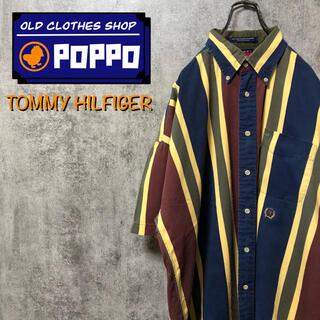 TOMMY HILFIGER - トミーヒルフィガー☆オールド刺繍ロゴ半袖レトロマルチストライプシャツ 90s