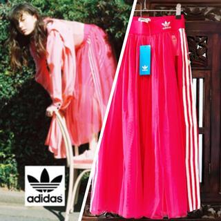 adidas - アディダス シースルー 新品 ピンク チュール ジャージ スカート パンツ