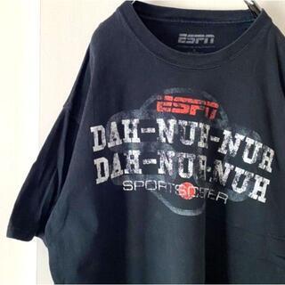 ESPN ニュース Tシャツ XL ブラック 黒 古着(Tシャツ/カットソー(半袖/袖なし))