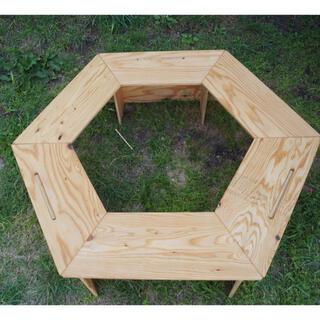 ヘキサゴンテーブル クリア塗装 高さ300mm(アウトドアテーブル)