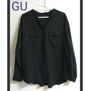 GU - 美品 GU ゆったり ノーカラーシャツ ブラウス