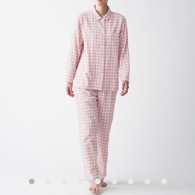 MUJI (無印良品)(ムジルシリョウヒン)の無印良品 脇に縫い目のない 二重ガーゼパジャマ婦人L~XL・ピンク×チェック レディースのルームウェア/パジャマ(パジャマ)の商品写真