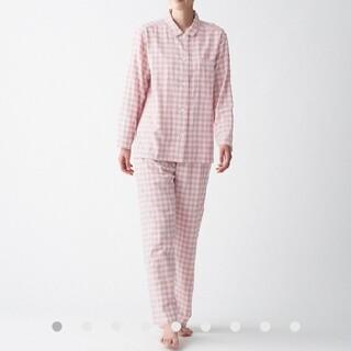 MUJI (無印良品) - 無印良品 脇に縫い目のない 二重ガーゼパジャマ婦人L~XL・ピンク×チェック