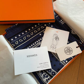 Hermes - 新品タグ付き❣️今年購入❣️  正規エルメスシルクスカーフ55㎝ ネイビー