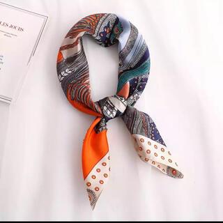 新品 スカーフ オレンジ シルクスカーフ 高級 レディース 大判 チャーム