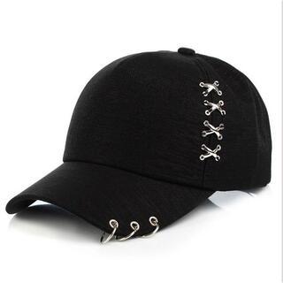 韓国CAP ブラック黒 メンズ 4連クロスオシャレ 3連リング付きユニセックス(キャップ)