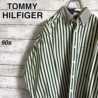 TOMMY HILFIGER - 【激レア】トミーヒルフィガー☆刺繍ロゴ ストライプ 長袖BDシャツ 90s