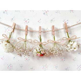 サーモンピンクのバラとかすみ草のホワイトドライフラワーガーランド♡スワッグブーケ(ドライフラワー)
