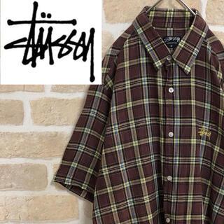 STUSSY - stussy ステューシー シャツ 半袖 ブラウン チェック ワンポイントロゴ