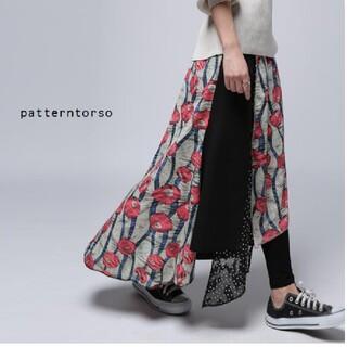 antiqua - アンティカ 花柄×ドット 柄切り替えロングスカート