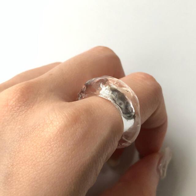 clear watery ring ハンドメイドのアクセサリー(リング)の商品写真
