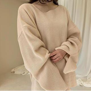 sleeve slit asymmetry tops(ニット/セーター)