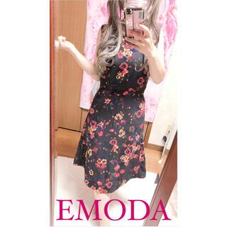 EMODA - 3353.EMODA 花柄 ノースリ 膝丈ワンピース Aラインワンピース