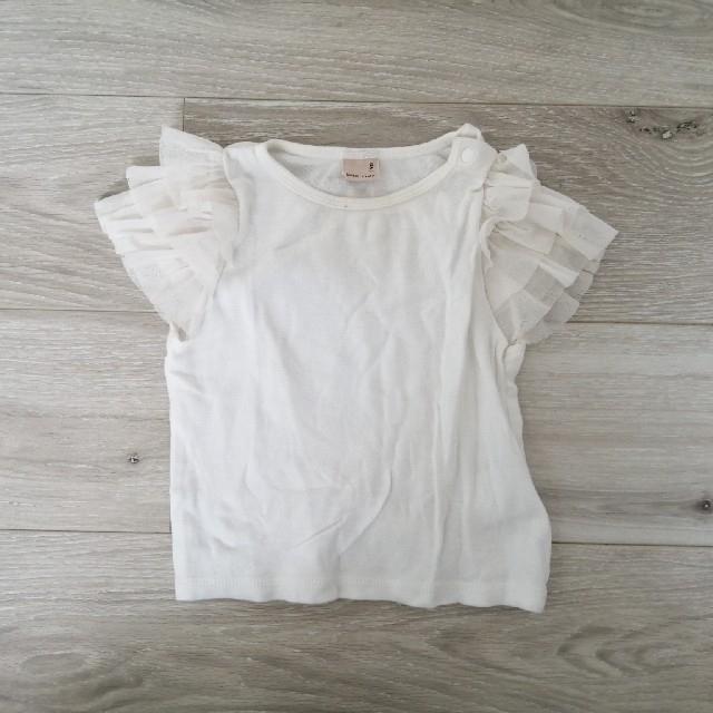 petit main(プティマイン)のpetitmain 半袖フリルTシャツ 90 キッズ/ベビー/マタニティのキッズ服女の子用(90cm~)(Tシャツ/カットソー)の商品写真
