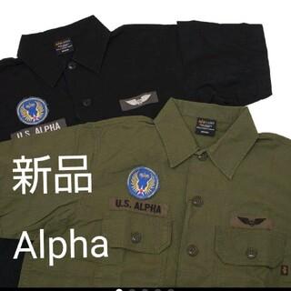 アルファインダストリーズ(ALPHA INDUSTRIES)のアルファ 黒 M 半袖ユーティリティーシャツ(シャツ)