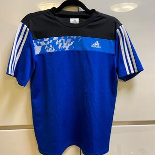 adidas - 美品☆アディダス3本ラインブルーTシャツ160