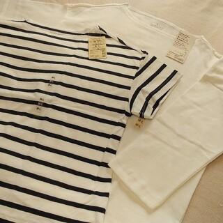 太番手天竺編みボートネックTシャツ 2点 半袖・7分丈 婦人M~L