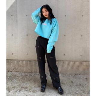 X-girl - X-girl  GLITTER LOGO SWEAT CROPPED TOP