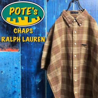 Ralph Lauren - 【チャップスラルフローレン】ポケットロゴタグ半袖コットンリネンチェックシャツ