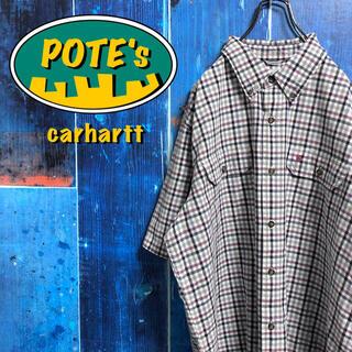 carhartt - 【カーハート】ワンポイント刺繍ロゴフラップダブルポケット半袖ワークチェックシャツ