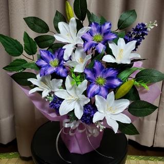 仏花 紫クレマチス&白百合(その他)