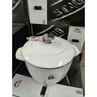 STAUB エナメル鍋 ホワイト 16cm IH対応 両手鋳物