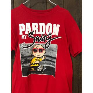 ピーナッツ(PEANUTS)のピーナッツ チャーリーブラウン Tシャツ 赤 【匿名配送】(Tシャツ/カットソー(半袖/袖なし))