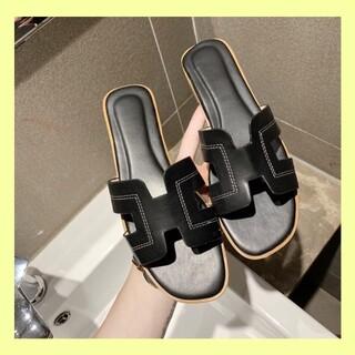 サンダル  ブラック 黒 23.0cm  23.5cm フラット ミュール 韓国