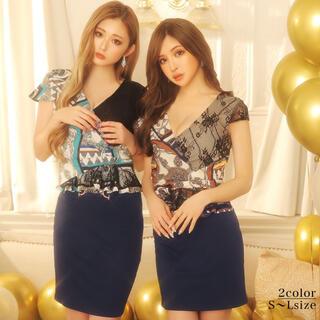 デイジーストア(dazzy store)のスカーフプリント切替/カシュクール/セットアップワンピースbeL(ナイトドレス)
