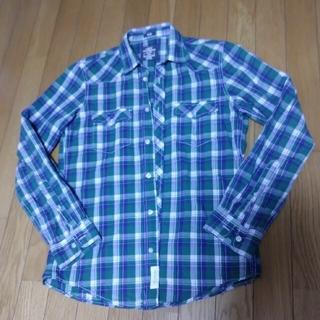 エイチアンドエム(H&M)のLOGG グリーンチェックシャツ L(シャツ)
