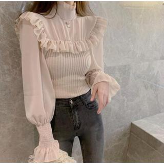 dholic - &lottie knit docking ribbon blouse