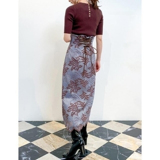Lily Brown - 【新品】Lily brown♡バイカラー フラワー レース スカート