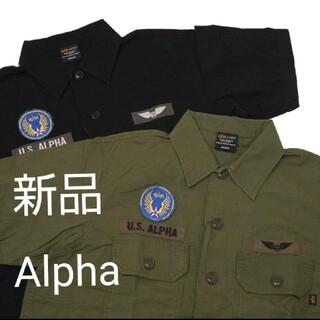 アルファインダストリーズ(ALPHA INDUSTRIES)のアルファ黒 XL 半袖ユーティリティーシャツ(シャツ)