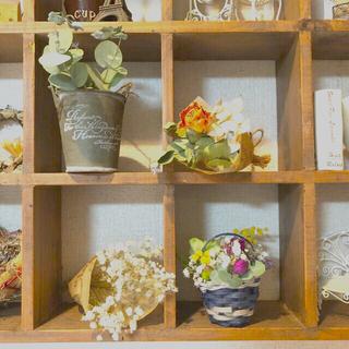 4点 かごの中に花畑&スワッグ ミニチュア〜薔薇と15種類のドライフラワーで〜紺