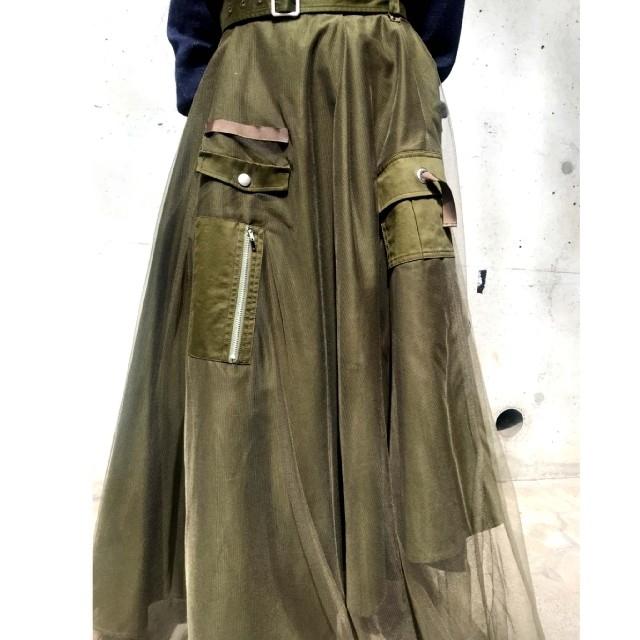 Ameri VINTAGE(アメリヴィンテージ)のAmeri【未使用品】ミリタリーアシンメトリー チュールスカート レディースのスカート(ロングスカート)の商品写真