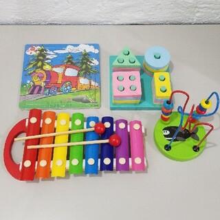 新品・未使用 知育玩具 4点セット おもちゃ 楽器 型はめ ルーピング パズル