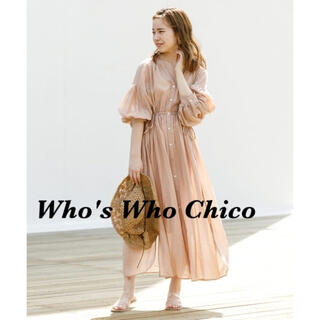 who's who Chico - 【新品.未使用】Chico 5分袖ボリュームシアーバックリボンワンピース