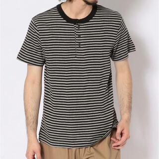 ショット(schott)の新品★Schott×Miller ヘンリーネックTシャツ ブラックボーダー/M(Tシャツ/カットソー(半袖/袖なし))