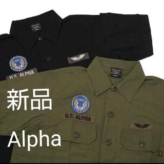 アルファインダストリーズ(ALPHA INDUSTRIES)のアルファ L アーミーグリーン 半袖ユーティリティーシャツ(シャツ)