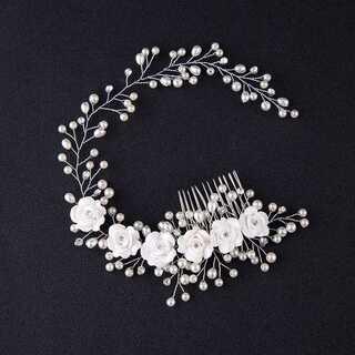 小枝と小花のヘッドドレス ヘアアクセサリー ウエディング ティアラ ボンネ(その他)