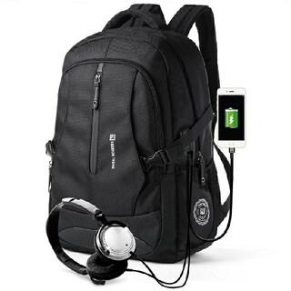 大容量 リュック メンズ レディース USBポート付き 防水 バックパック 黒