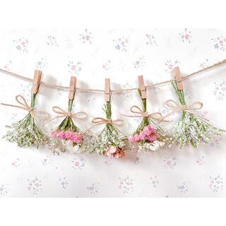 サーモンピンクのバラとホワイトドライフラワーガーランド♡スワッグ♡ミニブーケ