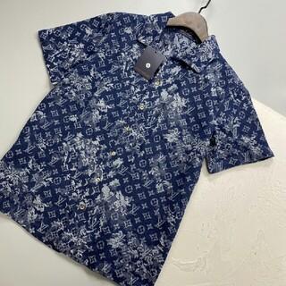 ルイヴィトン(LOUIS VUITTON)の限定高品質カモフラージュフルプリントジャカードロゴデニム半袖シャツ(Tシャツ/カットソー(半袖/袖なし))